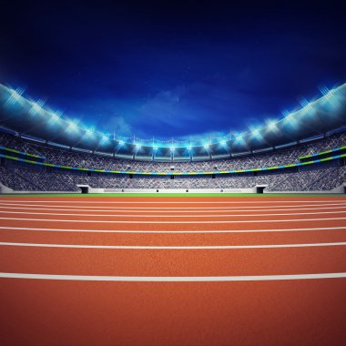 athletics stadium with track at general front night view