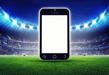 football stadium with editable empty cell phone display