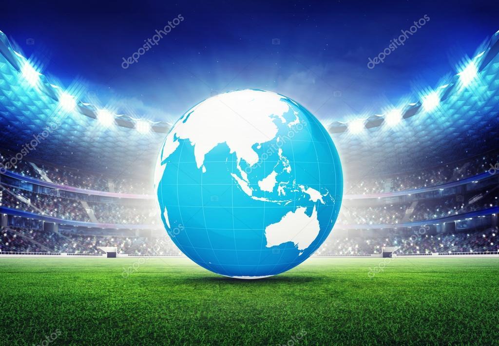 football stadium with asia globe map stock photo