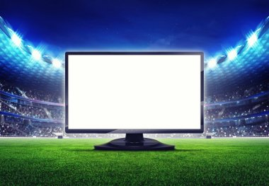 football stadium with empty editable tv screen frame