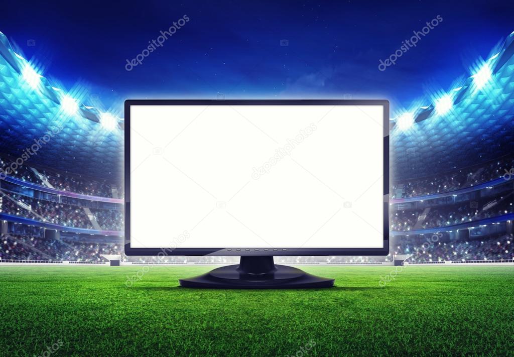 Estadio del balompié con marco de pantalla de tv editable vacía ...
