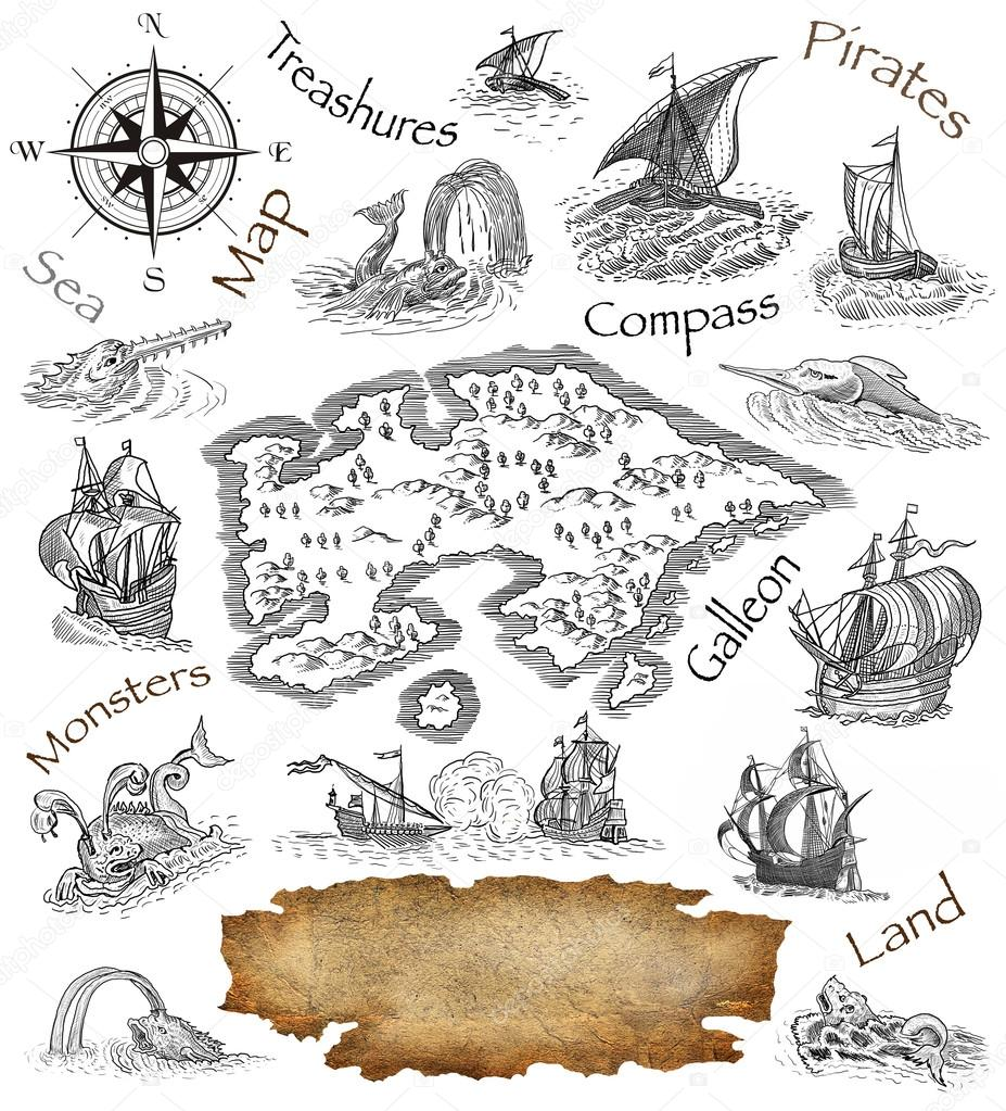 Old pirate map icon — Stock Photo © pavila1 #72372615