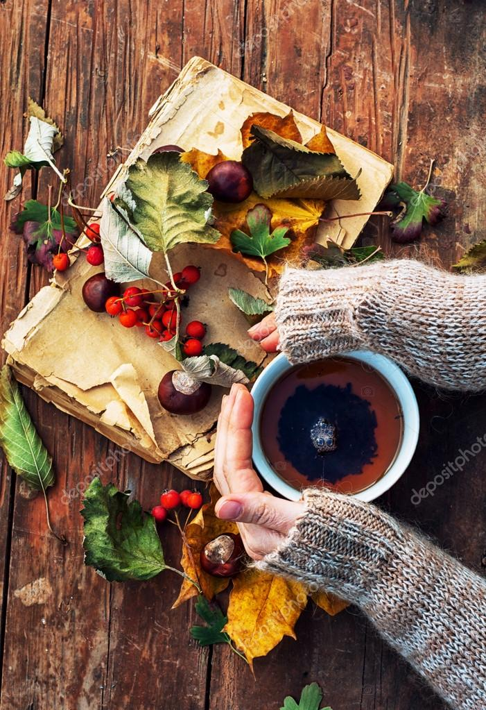 Female hand with a mug of warm autumn tea