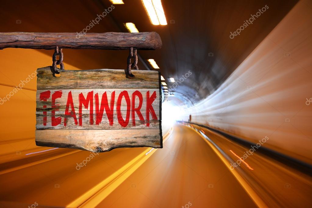 Sinal De Frase Motivacional Trabalho Em Equipe Stock Photo
