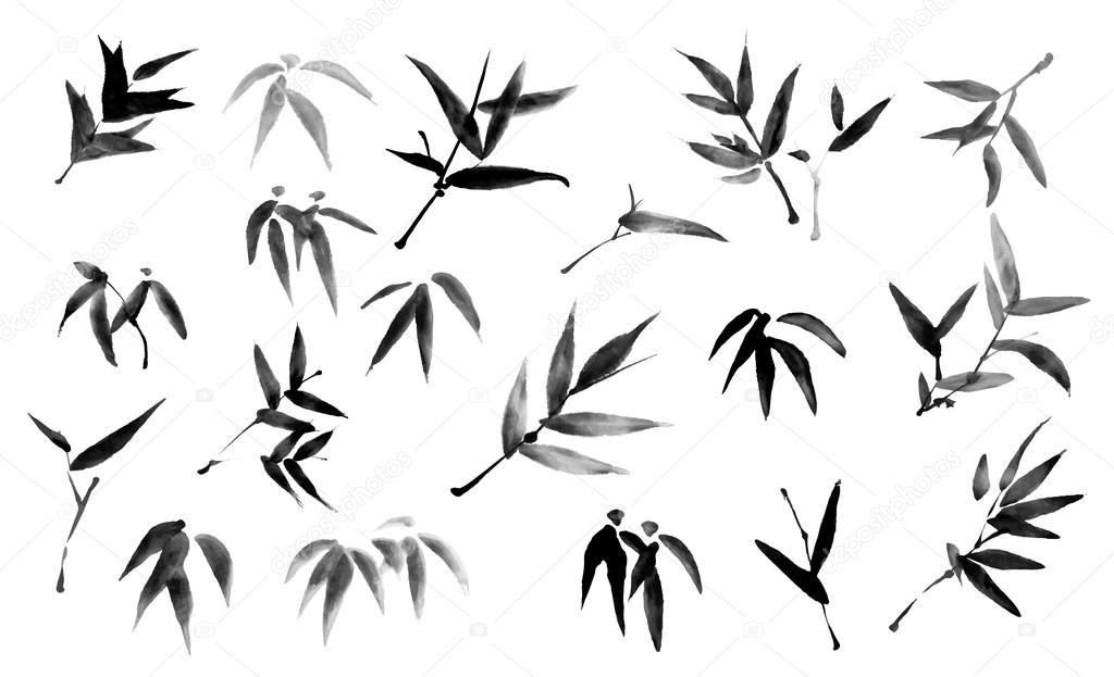 rama y hojas de bambú de tinta pintura — Vector de stock © baoyan ...