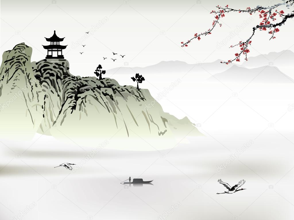 Chinese Landscape Painting Stock Vector