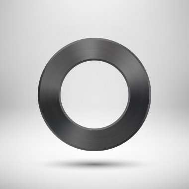 Black Abstract Circle Button with Metal Texture