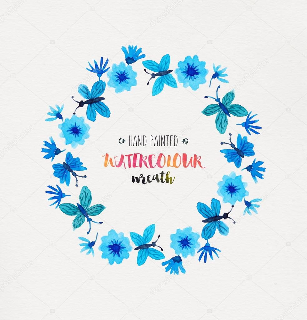 Azure Watercolor Wreath
