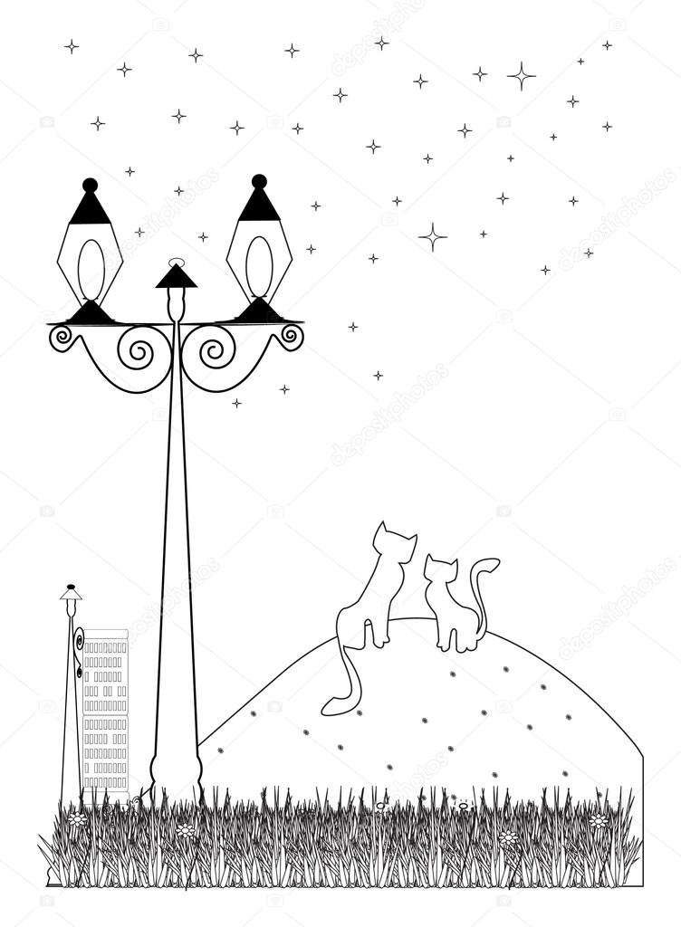 Coloring Book Cats In Love Stock Vector Anadunjakia 94990918