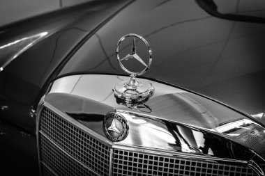 Hood ornament of Mercedes-Benz 220 SE (W128), close-up