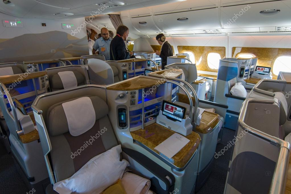 Interior of business class of the world\'s largest aircraft Airbus ...