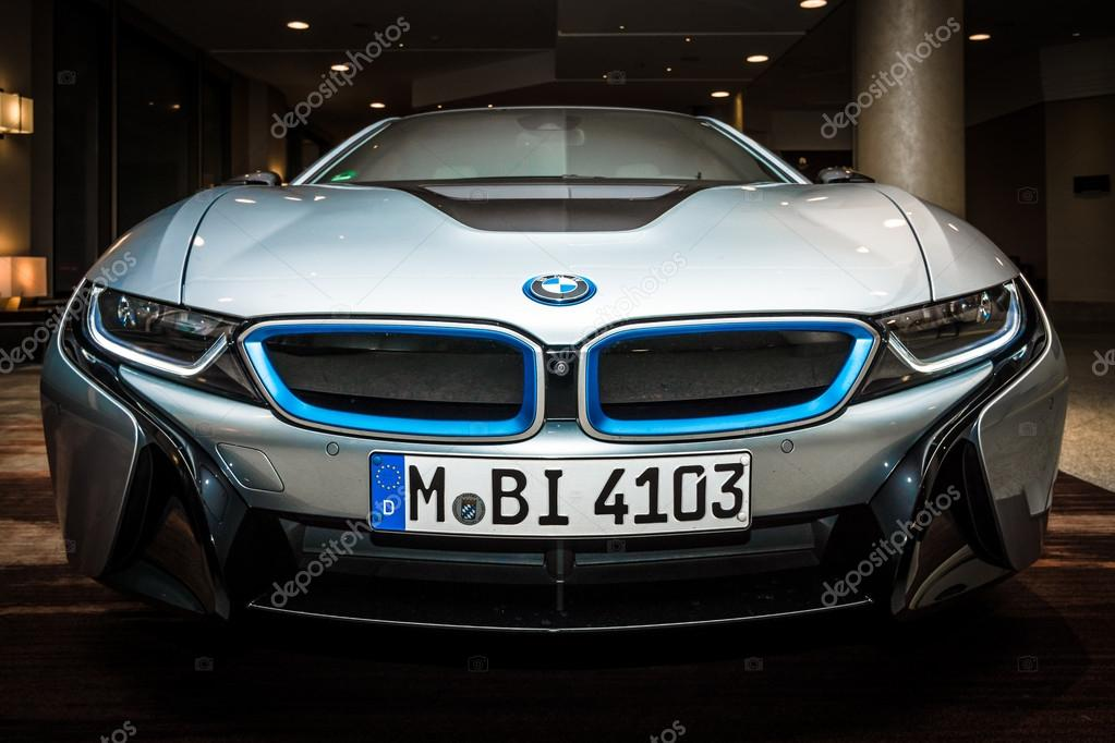 BERLIN - NOVEMBER 28, 2014: Showroom. The BMW i8, first introduced as the BMW Concept Vision Efficient Dynamics, is a plug-in hybrid sports car developed by BMW