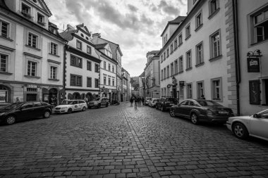Street and everyday life of the city. Black and white. Prague is the capital and largest city of the Czech Republic.
