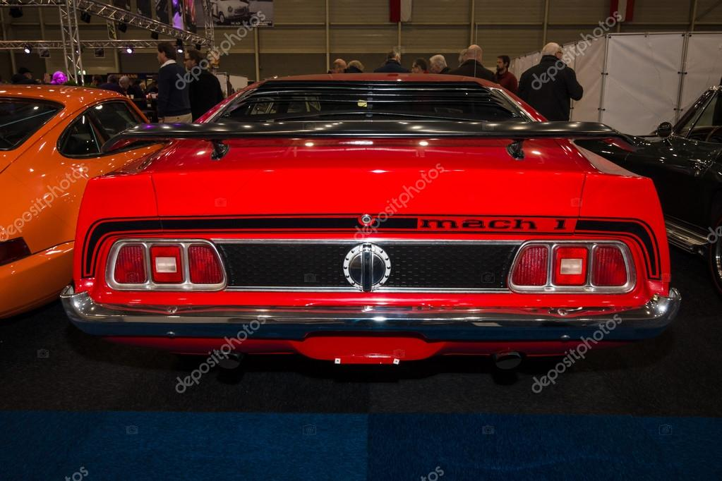 The Muscle Car Ford Mustang Mach 1 1973 Rear View Stock