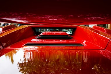 Air intakes and vents luxury sports car Lamborghini Countach 5000 Quattrovalvole. The Classic Days on Kurfuerstendamm.