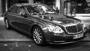 Full-size luxury car Maybach 57. Black and white. The Classic Days on Kurfuerstendamm.