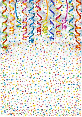 Background with lights, serpentine and confetti clip art vector