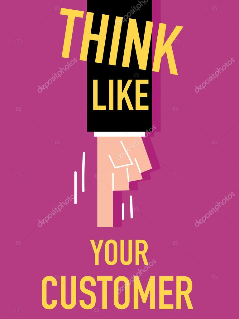 Word THINK LIKE YOUR CUSTOMER vector illustration