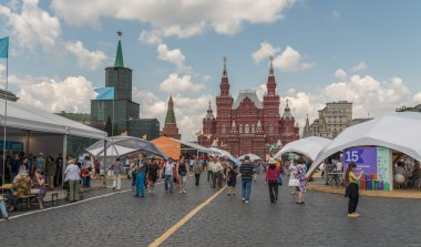 Open book fair on the Red Square in Moscow.