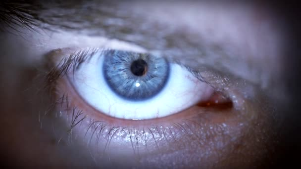 Blue eye with contact lens.