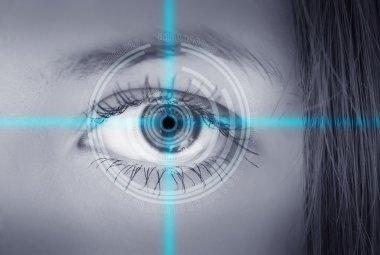 Eye viewing digital information.