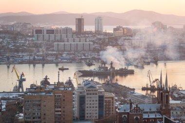 VLADIVOSTOK, RUSSIA - JANUARY 28: Large anti-submarine ship