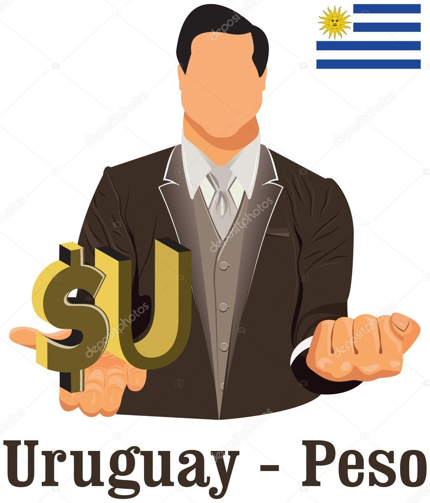 Uruguay Currency Symbol Peso Representing Money And Flag Stock