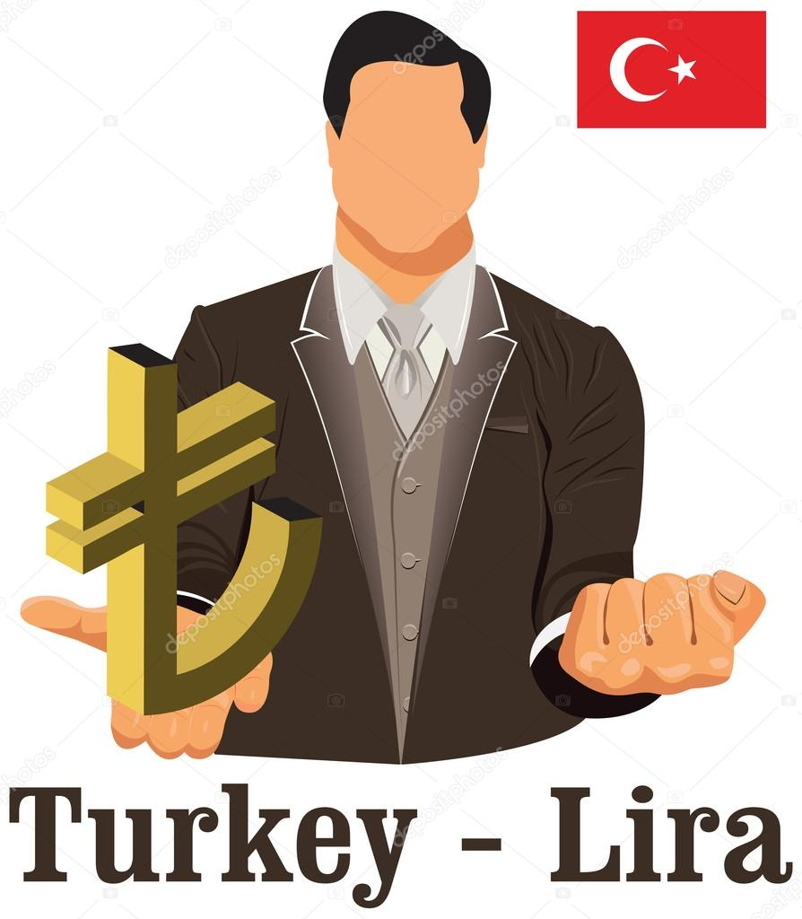 Turkey National Currency Symbol Lira Representing Money And Flag