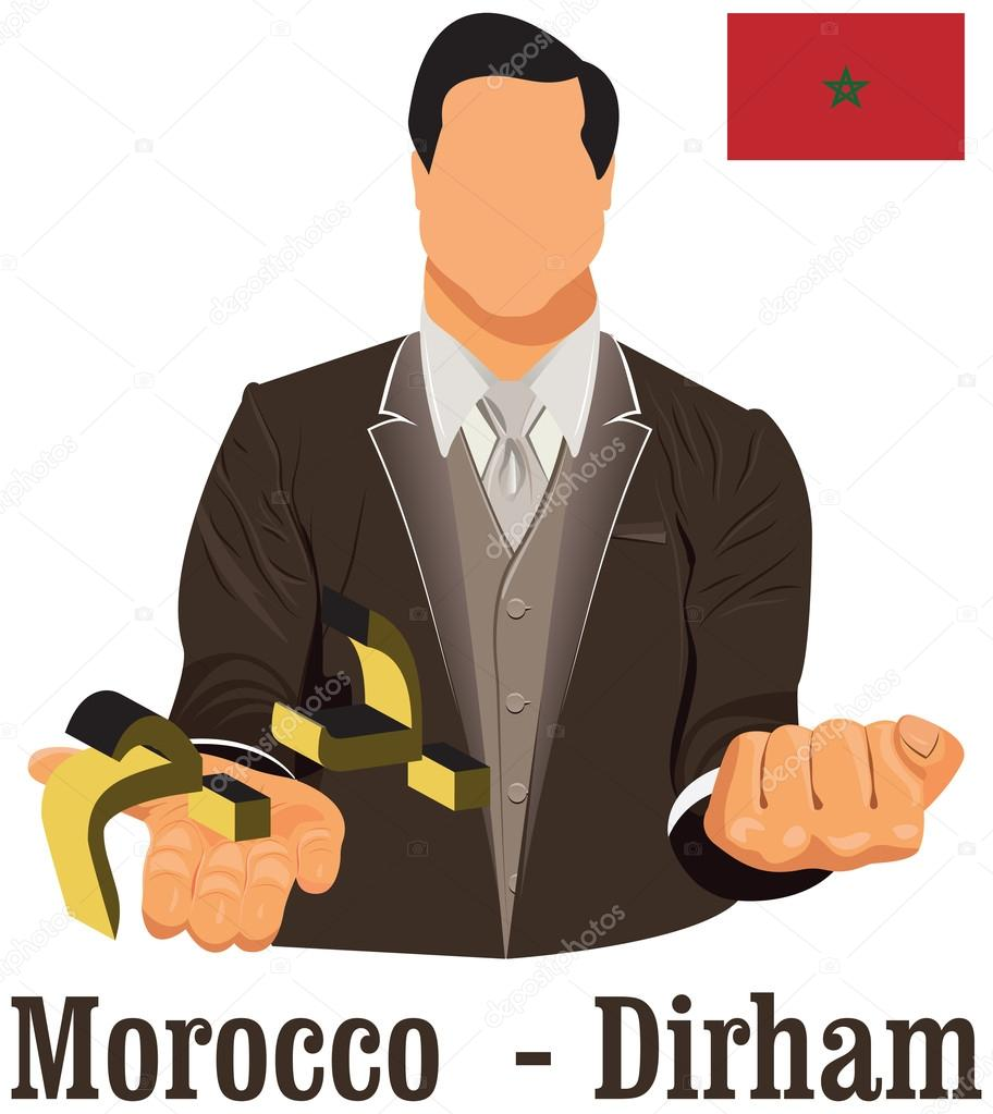 Morocco National Currency Symbol Moroccan Dirham Representing Mo