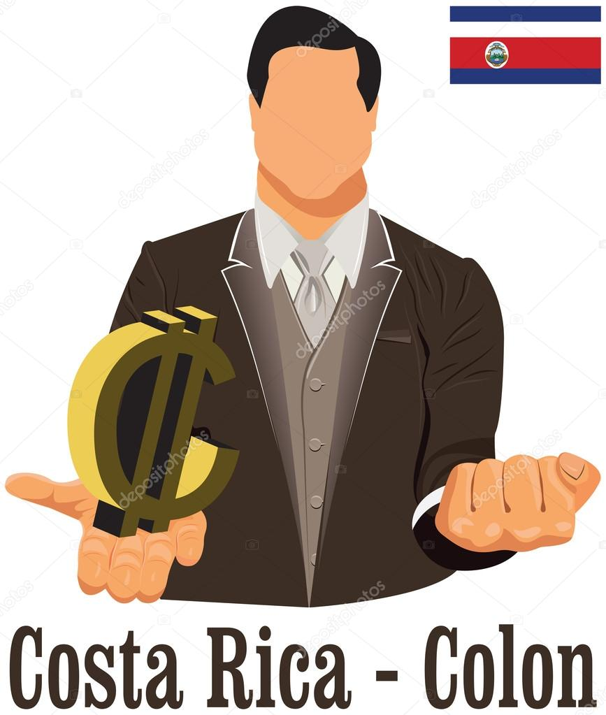 Costa Rica National Currency Costa Rican Colon Symbol Representi