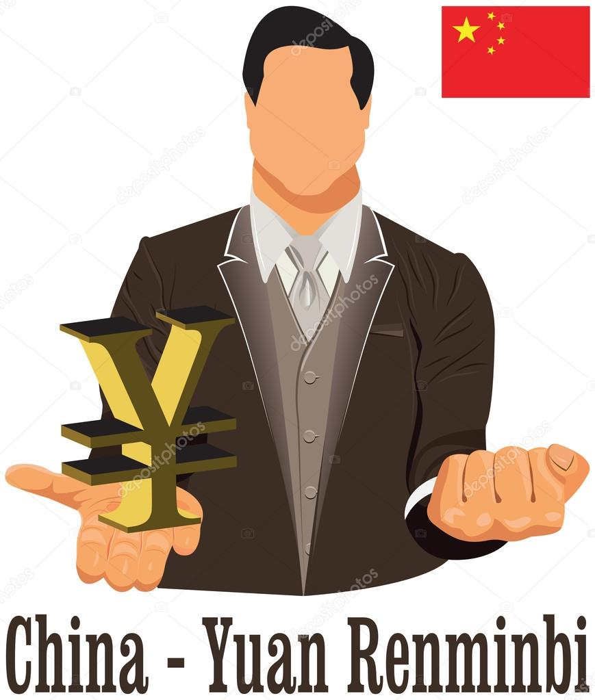 China national currency renminbi yuan symbol representing money china national currency renminbi yuan symbol representing money and flag vector design concept of businessman in suit with his open hand over with currency biocorpaavc Choice Image