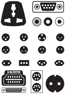 Vector set of thirteen international sockets