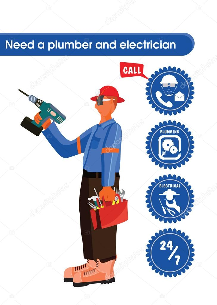 A plumber, carpenter or electrician wearing a helmet