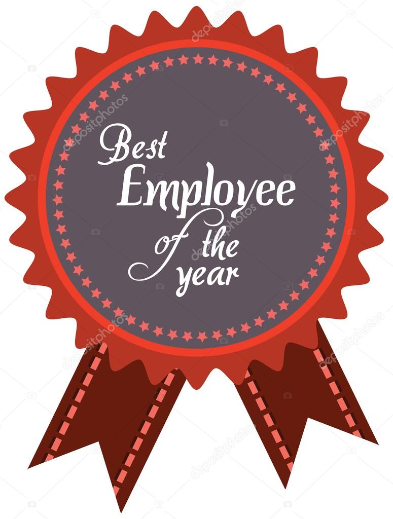 vector promo label of best employee service award of the year
