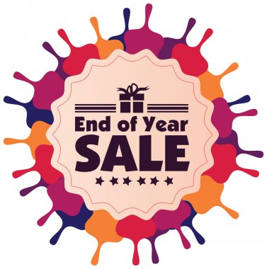 End of year sale vector label or badge isolated on white backgro