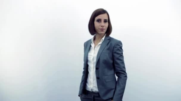 Woman click on virtual cloud interface