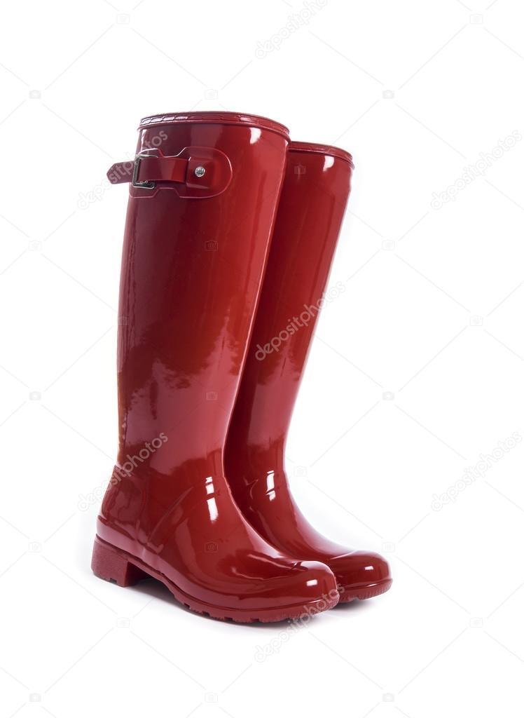 ec85ce65bcc Botas de borracha vermelho feminino isoladas no branco — Fotografia de Stock