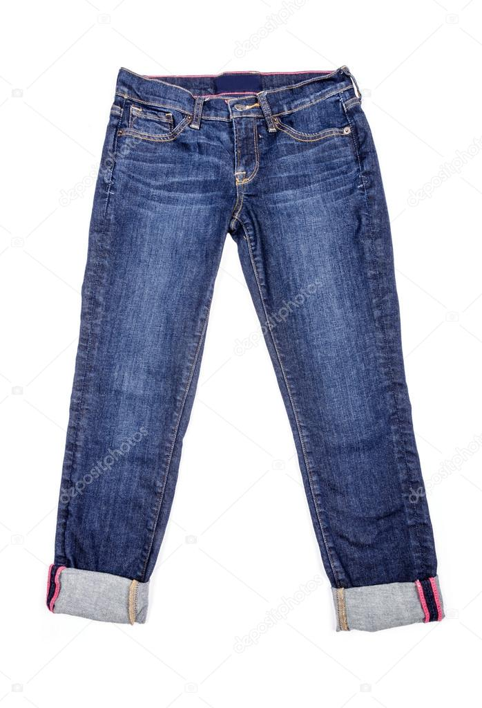 Cropped Jeans Isolated on White