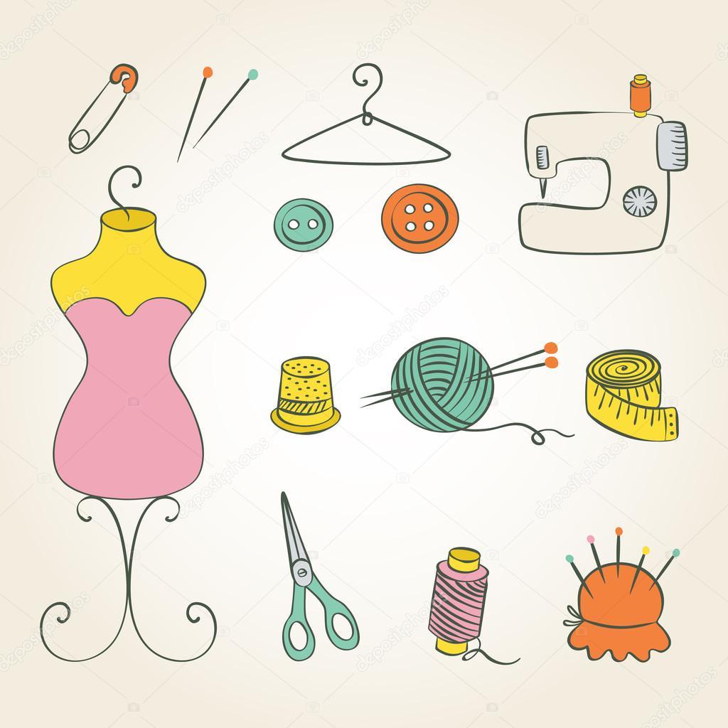 Couture tricot main couleur dessin esquisse image - Dessin couture ...