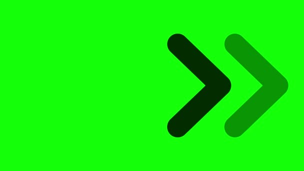 Animation of Arrows Sign Moving on Green Screen (Chroma Key) Background with Alpha Channel.