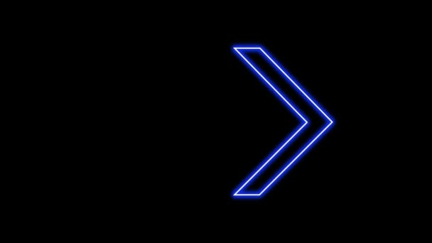 Animation of Glowing Neon Arrows. Looped Moving Arrows. Neon Sign Sparkling with Bright Lights. Seamless Loop 4K. Animation of Arrow Sign on Isolated Background.