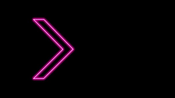 Animation of Glowing Neon Arrows. Looped Moving Arrows. Neon Sign Sparkling with Bright Lights. Seamless Loop 4K. Animation of Arrow Sign on Isolated Background with Alpha Channel.