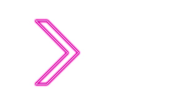 Animation of Glowing Neon Arrows. Looped Moving Arrows. Neon Sign Sparkling with Bright Lights. Seamless Loop 4K. Animation of Arrow Sign on White Background with Alpha Channel.