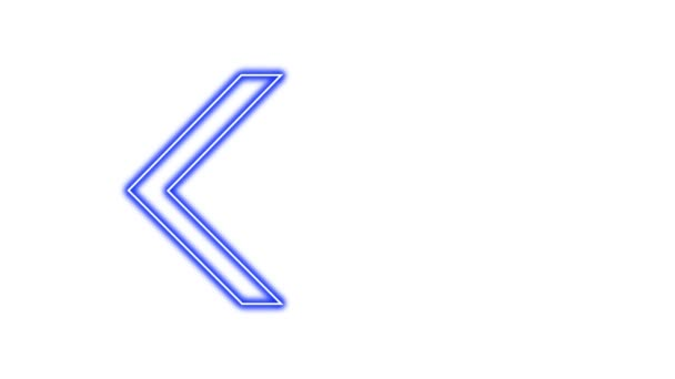 Animation of Glowing Neon Arrows. Looped Moving Arrows. Neon Sign Sparkling with Bright Lights. Seamless Loop 4K. Animation of Arrow Sign on White Background.