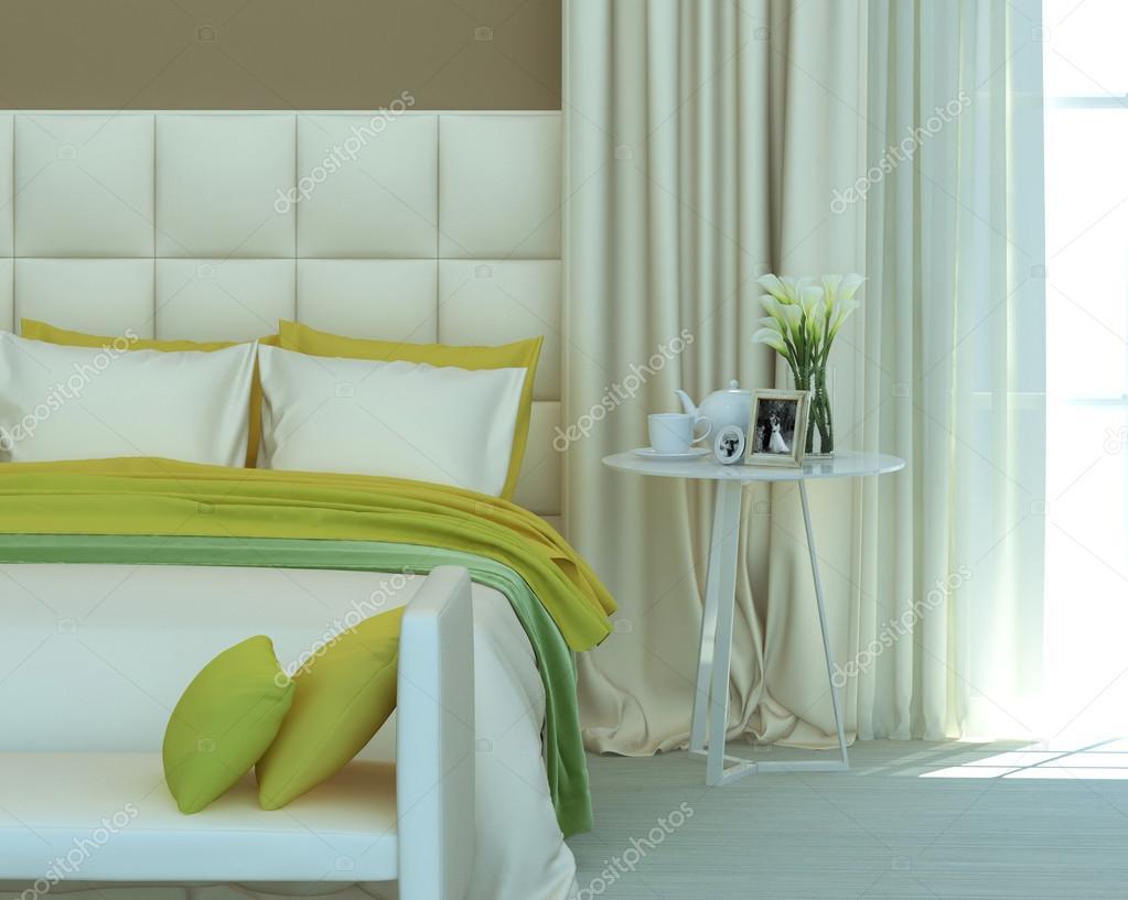 Gelbe Und Grüne Schlafzimmer Innenraum Stockfoto Liatris 115314134