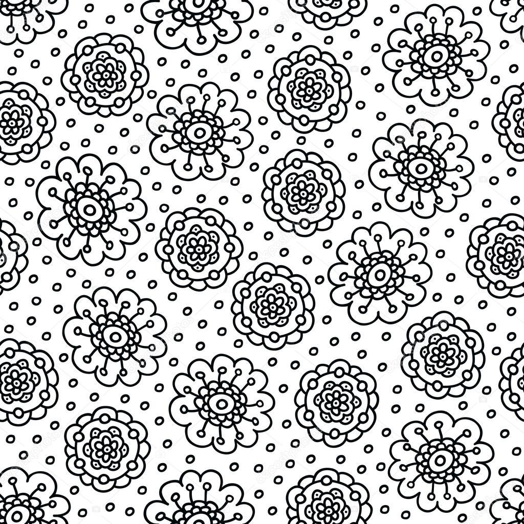 Patrón de flores para colorear página. Sin costura a mano fondo ...