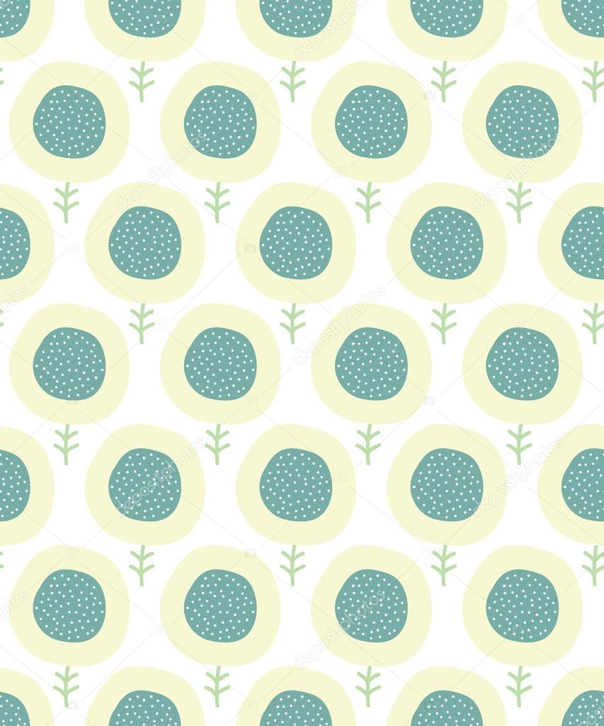Simple Kids Flower Pattern Doodle Pastel Seamless Background Cute Wallpaper Vector Illustration