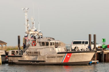 Hatteras, NC, USA - August 8, 2014 : u.s. coast guard boats at c