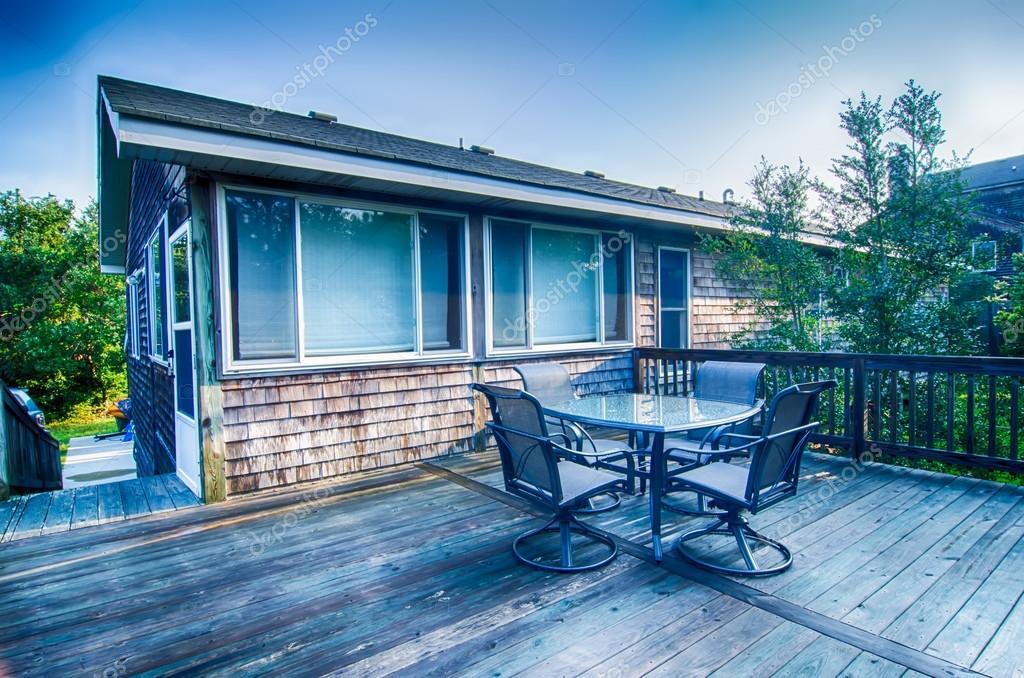 beach house porch at sunrise