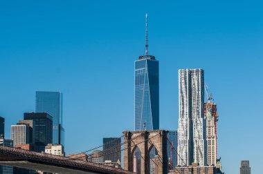 """Картина, постер, плакат, фотообои """"Бруклинский мост и города Нью-Йорка Манхэттен на фоне линии горизонта"""", артикул 61876873"""